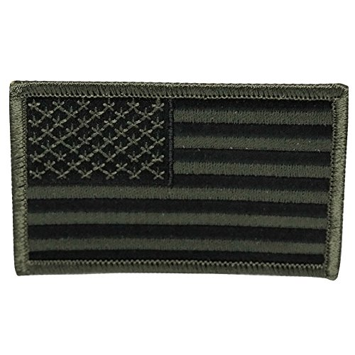 USA American Flag Embroidered Iron On Patch One Size - Subdued (Embroidered Olive)