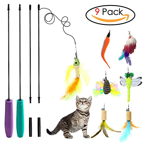 Sunnysunnie Cat Feather Toy Cat Toy Wand Interactive Teaser Catnip Toys Set Mouse Bird Butterfly Dragonfly Worm Catcher for Cats Kitten,9 Refills