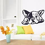 showing french bulldog - Animal French Bulldog Dog Wall Decals Removable Animal Pet Home Decor Wall Sticker Art Vinyl Bedroom Interior Pet Room Mural A-141 (Black, 57x38cm)