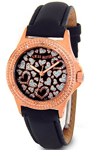 Swiss Diamond Watch Techno (Ladies Hearts Swiss Master Genuine Diamond Watch Rose Gold Tone Case Black Leather Band w/ 2 Extra Watch Bands)