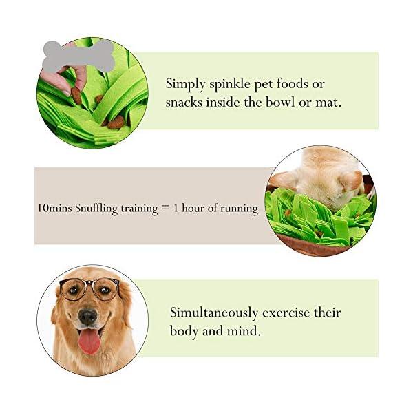 RC GearPro Dog Snuffle Bowl Mat Pet Cat Snuffling Nose Work Mat IQ Training Slow Eat Bowl, Encourages Natural Foraging Skills Dog Feeding Blanket (green) 4
