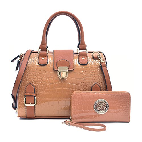 Dasein Women's Fashion Designer Satchel Handbags Croco Structured Purses Shoulder Bags Briefcases With Shoulder Strap