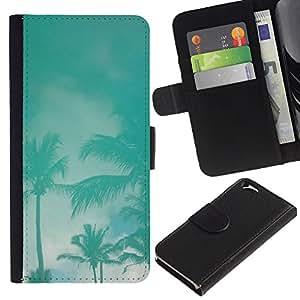 iBinBang / Flip Funda de Cuero Case Cover - Palms Tormenta trullo Miami California Cielo - Apple Iphone 6 4.7
