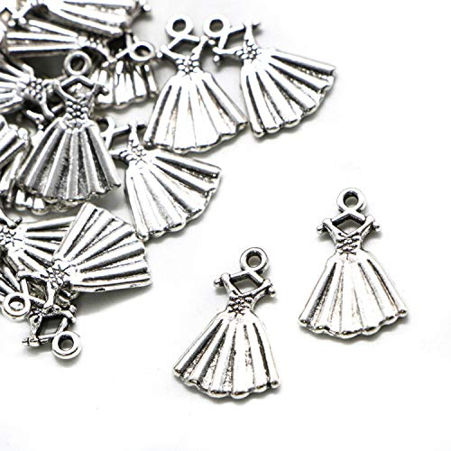 JETEHO 100Pcs Antique Silver Dress Charms Pendants for Jewelry Making and Crafting