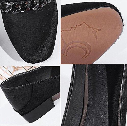 Zapatos de mujer Cabello de caballo Hebilla de metal Mocasines Bailarina plana Tamaño 35 a 41: Amazon.es: Deportes y aire libre