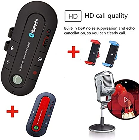 ATTIVA Kit 2 Vivavoce per Auto Bluetooth 4.1 Autoradio Car Bluetooth Blutut Smartphone Speaker Trasmettitore Universale Bloototh Colori 2