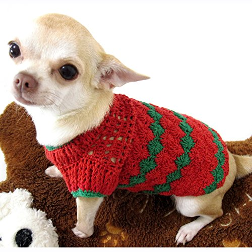 amazoncom red green christmas dog sweater warm cotton puppy clothes pet clothing handmade crochet chihuahua apparel cute dk875 myknitt xs pet