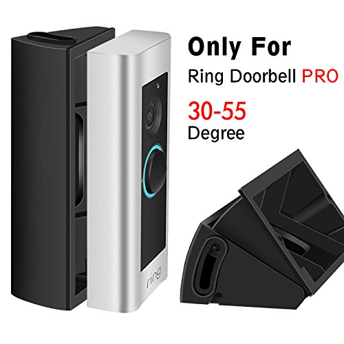 ADJUSTABLE (30 to 55 degree) Angle Mount for Ring Video Doorbell Pro (Released in 2016), Gooyo Black Angle Adjustment Adapter / Mounting Plate / Bracket / Wedge Kit (Doorbell NOT included) (Pro Wedge)