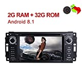 "MCWAUTO Android 8.1 Car Stereo GPS DVD Player Compatible Dodge Ram Challenger Jeep Wrangler JK Head Unit Single Din 6.2"" 2G RAM+32G ROM Indash Radio Receiver with Navigation Bluetooth/3G/Rear Camera"