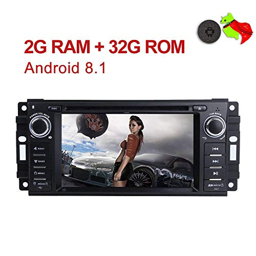 (MCWAUTO Android 8.1 Car Stereo GPS DVD Player Compatible Dodge Ram Challenger Jeep Wrangler JK Head Unit Single Din 6.2