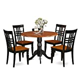 East West Furniture DLLG5-BCH-W 5 PC Dining Table Set with One Dublin Dining Table & Four Dining Room Chairs in Black & Cherry Finish Review