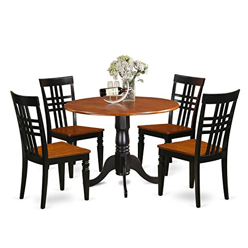 East West Furniture DLLG5-BCH-W 5 PC Dining Table Set with One Dublin Dining Table & Four Dining Room Chairs in Black & Cherry Finish