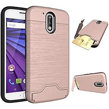 super popular 87366 3a502 Moto G4 / G4 Plus Wallet Phone Case Slim Women Cute Hard Cover Rubber  Protective with Credit Card Holder Slot Stand Kickstand for Motorola Moto G  4th ...
