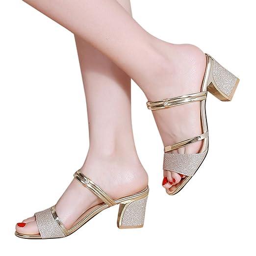 614878efc Amazon.com  JJLIKER Women Sequins Rhinestone Thick Heel Sandals Outdoor  Fashion Peep Toe Slippers  Clothing