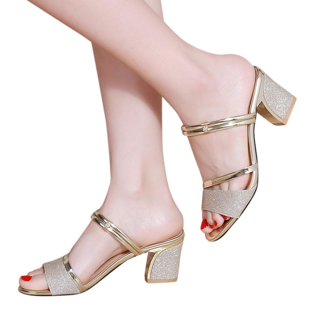 Lurryly Sandals for Women,Block Heels Slingback Shoes Dress Open-Toe Thick Heel Sandals