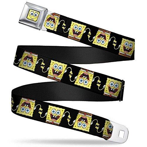 Sponge Bob Face CLOSE-UP Seatbelt Belt - Sponge Bob 3-D Pose Flip Black Webbing REGULAR -