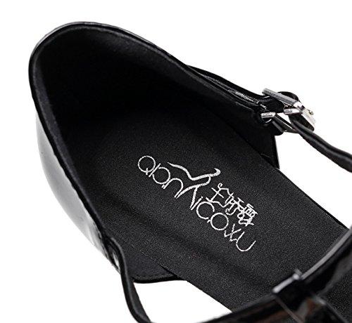 JSHOE Cuir Pailleté Des Femmes Bout Pointu Talon Chaton Chaussures De Danse Latine De Bal,Black-heeled7.5cm-UK6.5/EU40/Our41