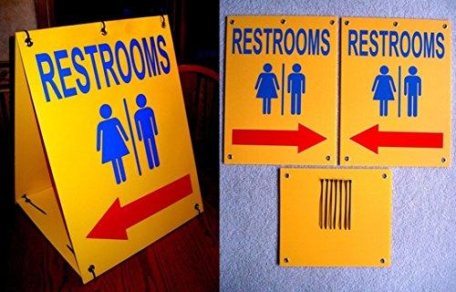 1 Set Superlative Popular Restrooms Symbol Arrow Signs Yard Declare Sandwich Board Plastic Size 18
