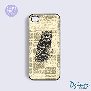LJF phone case iphone 4/4s Case - Newspaper Owls iPhone Cover