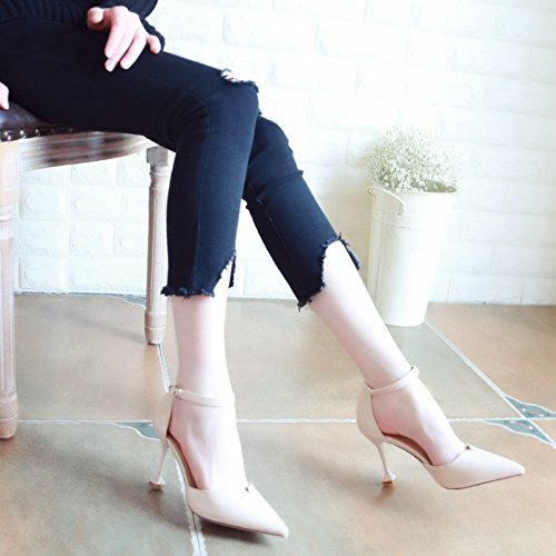 Sandalias Correa de ranurada Mujeres Zapatos Bellas Mujeres Xue de Zapatos Beige Zapatos Zapatos Hollow Punta Baile con luz Tacones Tribunal de Solo Qiqi qcTZcnt0