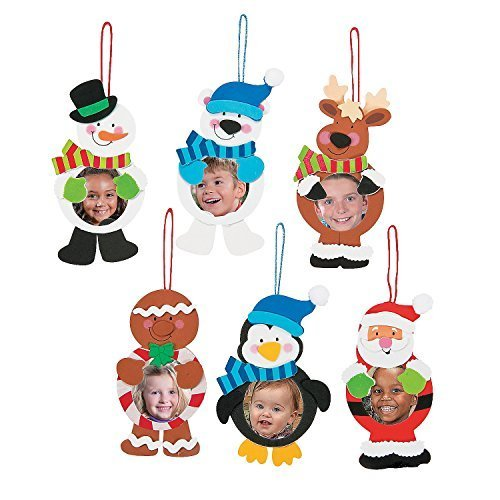 Fun Express - Christmas Character Picture Ornament ck for Christmas - Craft Kits - Ornament Craft Kits - Photo Ornament - Christmas - 12 Pieces (Make Ornaments Kids To For Homemade Christmas)