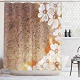 Art Deco Shower Curtain Ambesonne Grunge Home Decor Collection, Flowers and Leaves Pattern on Cracked Wall with Floral Lines Classic Deco, Polyester Fabric Bathroom Shower Curtain Set with Hooks, Brown Gold White