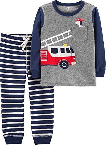 Carters Baby Boys Stripe Fire Truck Jogger Pants Set 9 Months Grey/Navy Blue/White