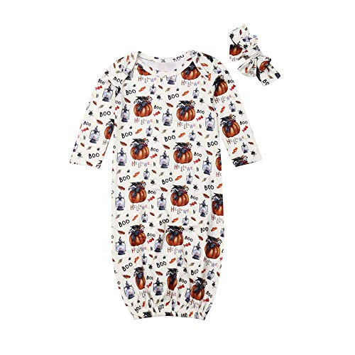 Newborn Halloween Costume Baby Girl Pumpkin Sleeper Gowns Infant Long Sleeve Sleeping Bag Clothes (Pumpkin Baby Gown with Headband, 3-6 Months)