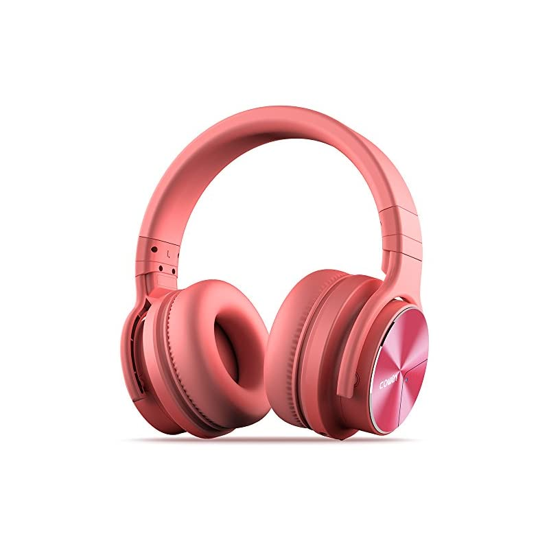 COWIN E7 Pro [2018 Upgraded] Active Noise Cancelling Headphones Bluetooth Headphones with Mic Hi-Fi Deep Bass Wireless Headphones Over Ear 30H Playtime Travel Work TV Computer Cellphone - Pink