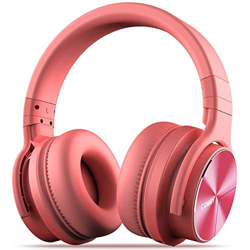 COWIN E7 Pro [2018 Upgraded] Active Noise Cancelling Headphones Bluetooth Headphones with Mic Hi-Fi Deep Bass Wireless Headphones Over Ear 30H Playtime Travel Work TV Computer Cellphone - Pink ()