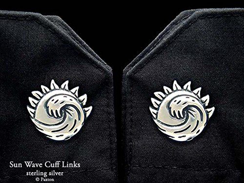 Sun Wave Cuff Links in Solid Sterling Silver Hand Carved & Cast by Paxton by Paxton Jewelry