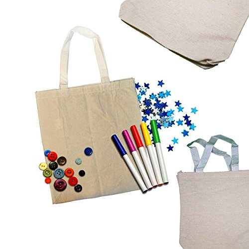 Adorox 8x8 Natural Color Canvas Tote Sack, Party favor Art & Craft DIY, Reusable Lunch Bag Set of (Diy Bag)
