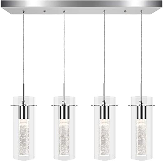 Pendant Light Fixtures for Kitchen Island, Integrated LED Pendant Lighting with Crystal Bubble Glass, Modern Hanging Ceiling Light 26W, 4000K White Light for Dining Room, Chromed Finished (4 Light)