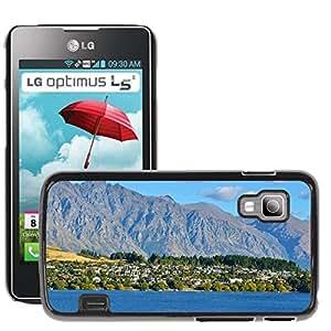 Hot Style Cell Phone PC Hard Case Cover // M00170237 Housing Village Mountain Lake // LG Optimus L5 II Dual E455 / E460