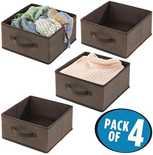 mDesign Juego de 4 cajas organizadoras de fibra sint/ética mantas accesorios y m/ás Organizadores para armarios con asa y sin tapa Cajas de tela para guardar ropa gris