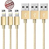 Zcen Lightning Cable, 3 Pack 10 Feet - Nylon Braided Cord iPhone Cable to USB Charging Charger for iPhone 7, Plus, 6, 6S, SE, 5S, 5, 5C, iPad, iPod - EarthGold