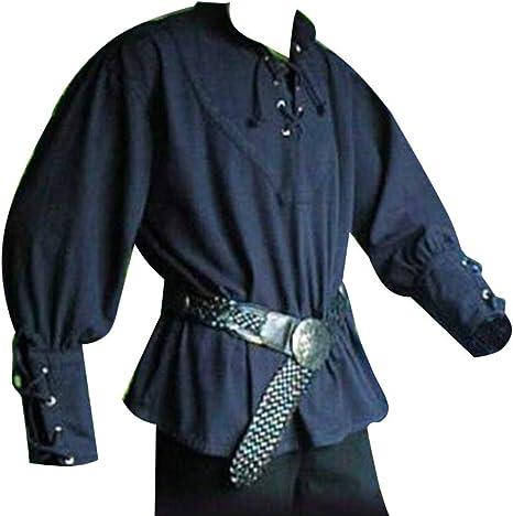 Camisa para Hombres De Manga Larga con Cordones Cuello En V Pirate Renaissance Medieval: Amazon.es: Ropa y accesorios