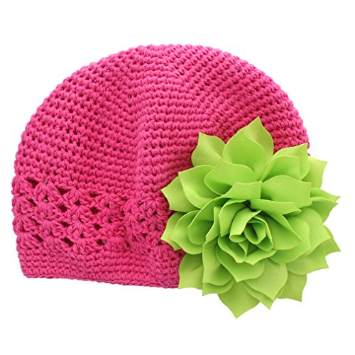 My Lello Little Girl's Crochet Beanie Hat with Flower One Size Hot Pink/Apple Green