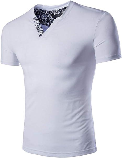 RISHENG Camiseta de Verano-Slim Manga Corta de Hombre Escote V ...