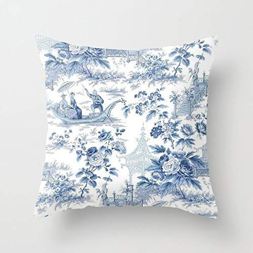 Custom Throw Pillow Cover Square Cotton Cushion Cover Couch Pillow Case Cover 18x18 Inch - Powder Blue Chinoiserie Toile (Powder Blue Pillowcases)
