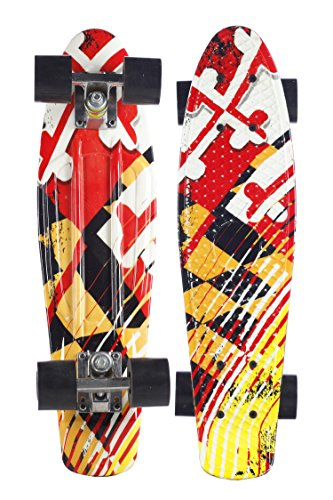 (Plastic Retro Complete Skateboard 22'' Cruiser for Kids Youth Beginners PU Wheels (Maryland Flag))
