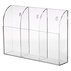 Hipiwe Wall Mount Remote Control Holder Clear Acrylic Media Organizer Storage Box Coffee Table and Nightstand Convenient Remote Control Caddy (Three Compartments)