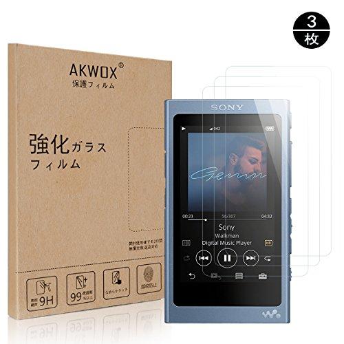懐疑論相手囲いAKWOX [3 枚] SONY ウォークマンNW-A35 / NW-A30 / NW-A40/ NW-A47 / NW-A45 / NW-A46HN ガラスフィルム, [ 耐衝撃] 9H硬度の液晶保護フィルム ソニー ウォークマン Aシリーズ