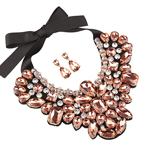 (Holylove Peach Costume Statement Necklace with Earrings for Women Jewelry Fashion Necklace 1 Set with Gift Box-HLN8455E-Peach)