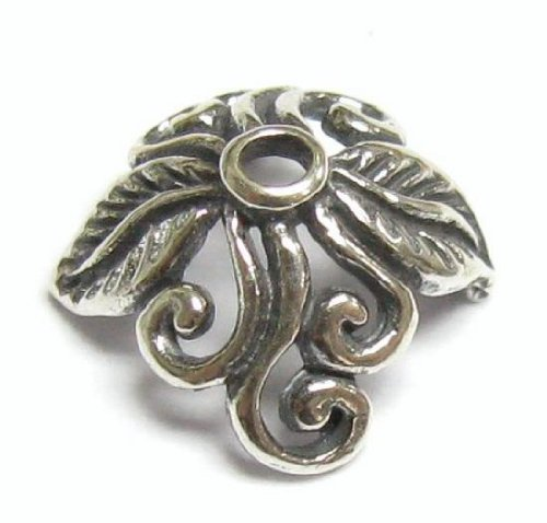 Sterling Silver Round Leaf Flower Filigree Bead Cap 11.5mm X 11mm / Findings / Antique (Silver Leaf Bead)