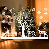 Kapmore Christmas Window Stickers,Kapmore Creative Reindeer Snowflake DIY Wall Sticker Removable Wall Decals Window Xmas Self-Adhesive Showcase Holiday Home Decoration