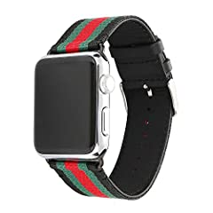Apple watch band, nylon with genuine leather sport replacement strap wrist band with metal adapter clasp for 42mm apple watch/sport /edition package: 1 watch band 1 screwdriver 2 screws.