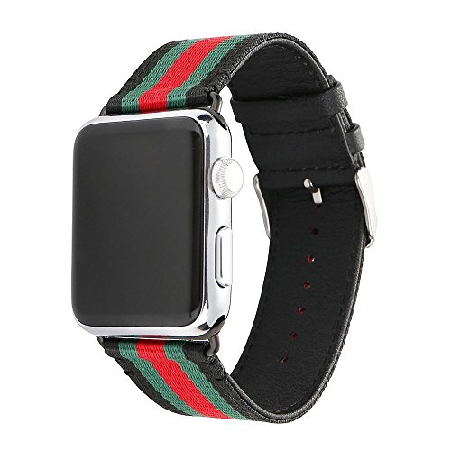 HUANLONG VE-0001 Apple Watch Band, Nylon with Genuine Leather Sport Replacement Strap Wrist Band with Metal Adapter Clasp - 42mm- Red/Green/Black by HUANLONG