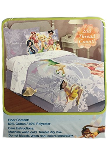 Disney Sheet Set, Twin, Tinkerbell Magical Talents, 200-Thread, 60/40 Poly/Cotton