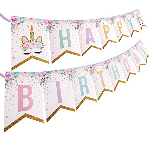 PojoTech Unicorn Happy Birthday Banner Party Decorations Supplies